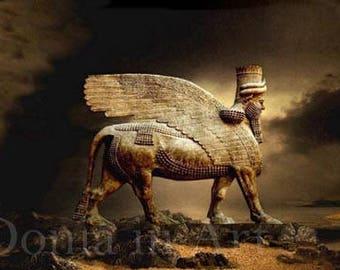 Assyrian Art, Assyrian Artist, Haroot, Lamassu Art, Winged Bull, Art Prints, Assyrian Art Prints, Digital Art, Winged Bull Art, Lamassu