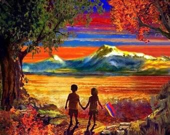 Armenia Art, Armenian Digital Art, Wall Art, Armenian Artist, Art Prints, Armenian Children, Armenian Flag, Mt Ararat, Masis Ararat