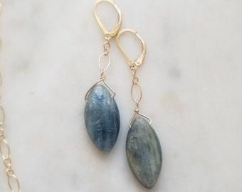 Labradorite Gold Filled Earrings - Gold Filled - Earrings - Labradorite - Blue - Gray - Gold - Drop Earrings