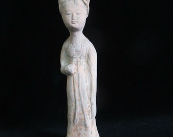 408a60311 CHINESE Sui Dynasty? Clay Tomb Figure Burial Statue of a LADY Female  Figurine