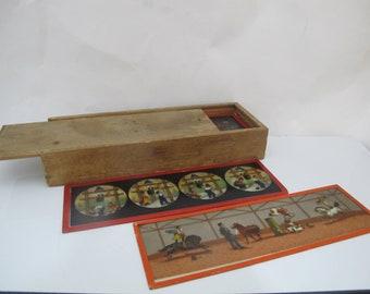 Antique ERNST PLANK Set of 16 MAGIC Slides in Original Wood Box