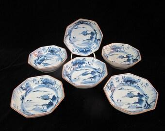 "Set of 6 ASIAN Cobalt Blue & White Porcelain OCTAGONAL Bowls 5 3/4"""