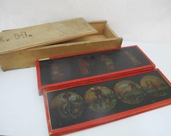 Antique ERNST PLANK Set of 14 MAGIC Slides in Original Wood Box