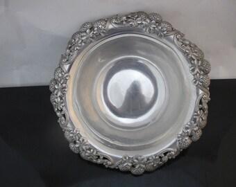 "Antique TIFFANY Sterling Silver Ornate CLOVER & Thistle Rim 10"" Fruit Bowl"