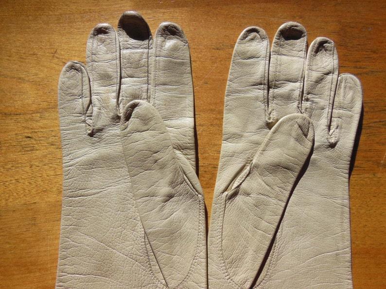 Size 7.5-Western Germany Vintage Long Beige Kidskin Gloves