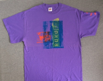 31dcde4679844 NIKE Shirt 1991 Vintage RARE/ Original Gray Tag OFFICIAL Cascade Run Race  Purple T-shirt/ Cotton Nike Collector Runner UsA Made Tee X-Large
