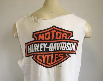 HARLEY DAVIDSON Shirt 1993 Vintage 90's Looney Tunes Tshirt Bugs Bunny Motorcycle Biker DIY Hd Tank Top Volley Ball Muscle Single Stitch