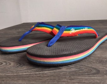 4c6765aa671e 80 s FLIP FLOPS Rainbow Thick Foam Sandals HAWAII Thongs  Rare Vintage  Bright Striped Nylon Strap  Excellent Condition Measures 11 3 4