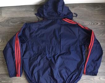 43a1ff46d3 ADIDAS Windbreaker Jacket 90s Vintage Hooded Trefoil Warm Up Full Zip Run  Hip Hop 3 Stripes Coat Navy Blue Red Nylon Size XL Excellent!