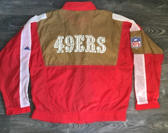 San Francisco 49ERS Windbreaker Jacket 80 s Vintage Official Forty Niners Gold  Red Nylon NfL Patch Football Apex-One XL 4fcd15681