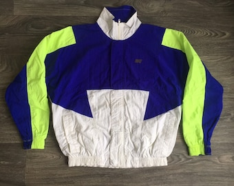 1736c720e638 NIKE Jacket 90s Vintage Neon White Navy Color Block Full Zip Lined  Breakdance Hip Hop Street Wear Size Medium