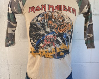 IRON MAIDEN Shirt Tour 1982 Camouflage Vintage ORIGINAL 80 s Beast On The  Road World Tour Tshirt Eddie Japan Band Rock Size Small 9e2d628ab