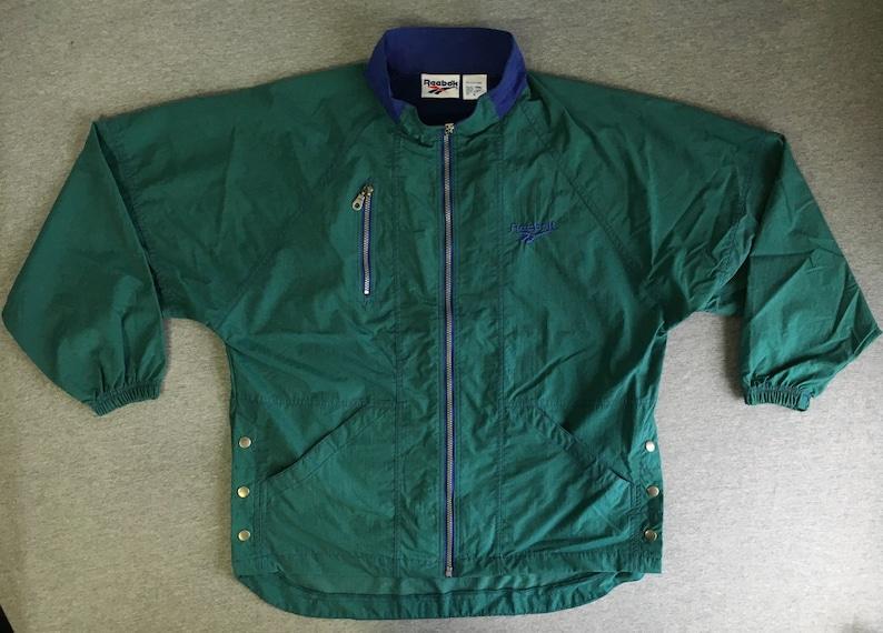 3cbdcc2754fc REEBOK WINDBREAKER Jacket 90 s Vintage  Green Tech MINT