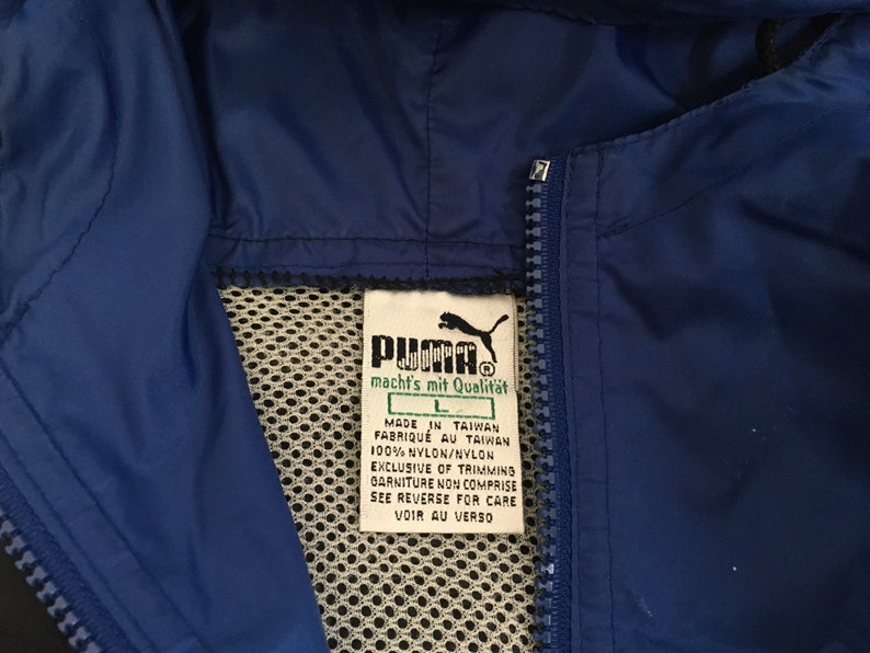 d274036bd3951 Puma Windbreaker Vintage Hooded Quarter Zip Jacket Black Blue Nylon Rare  Running Workout Street Style Fashion Coat Large