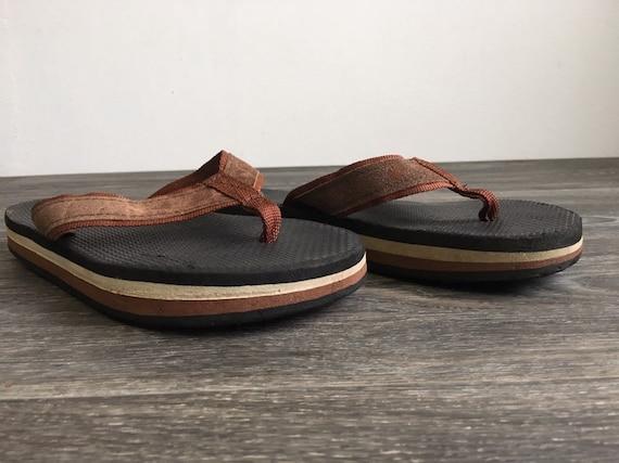 80's FLIP FLOPS Brown Stripe Rainbow Thick Foam Sandals Thongs Rare Vintage Suede Nylon Strap Good Condition Measures 10 12