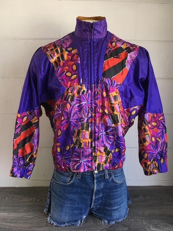 NIKE ELITE Windbreaker Jacket 90's Vintage Fresh Prince Hip Hop Full Zip Track Batwing Style Sleeves Multi Color Abstract AMAZING! Sm