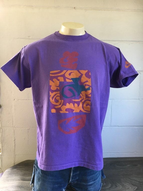 Tshirt Size Grey Tag Made Vintage Hawaiian Shirt One Usa Tribal 90's Nike Purple 100Cotton Casual Tropical Graphic Colorful LAR4j5