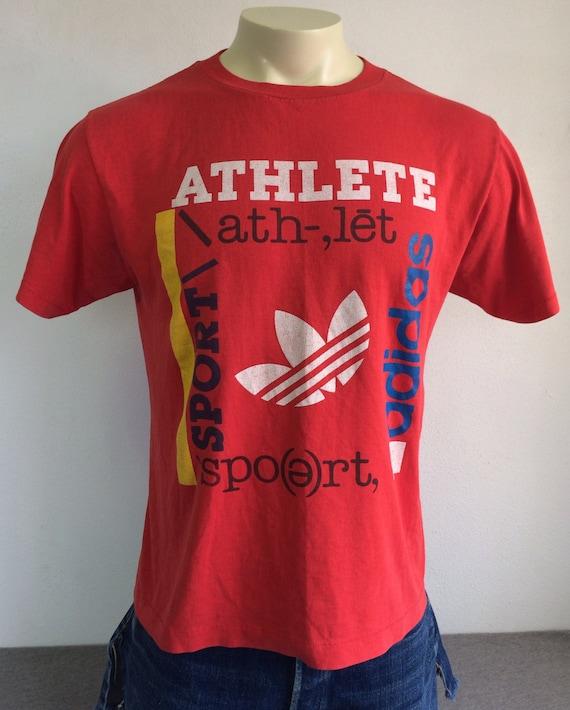 ADIDAS TREFOIL Shirt 80's Vintage Athlete Sport USA Tshirt Trefoil Logo Super Soft 5050 PolyCotton Red UsA Made Tee Medium
