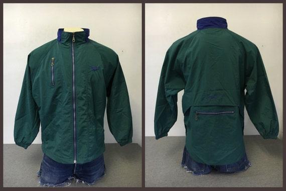 COUPE vent REEBOK veste Vintage des années 90 Green Tech MINT Condition ! Maille doublée Nylon Windrunner Full Zip homme moyen