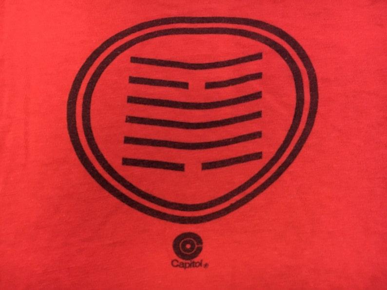 CALDERA Shirt 70's Vintage/ Latin Jazz Funk Rock Band Tshirt Capitol  Records Strunz del Barrio/ Red Cotton Soft! USA Made Ink Print Medium