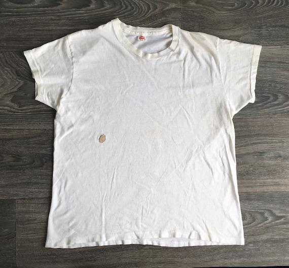 Vintage 60s Shirt HANES Plain Basic White Tshirt/