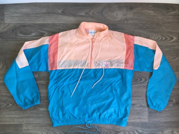 Vintage ADIDAS WINDBREAKER Jacket 80's Hooded Pink Blue Trefoil Warm Up Track Windrunner Nylon Half Zip Pullover Breakdance Women Medium