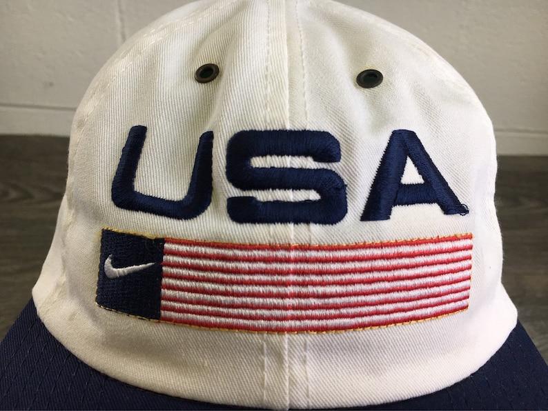 c0a50336aa4 Nike USA Hat Vintage 90s Flag Sewn Swoosh Snapback White and