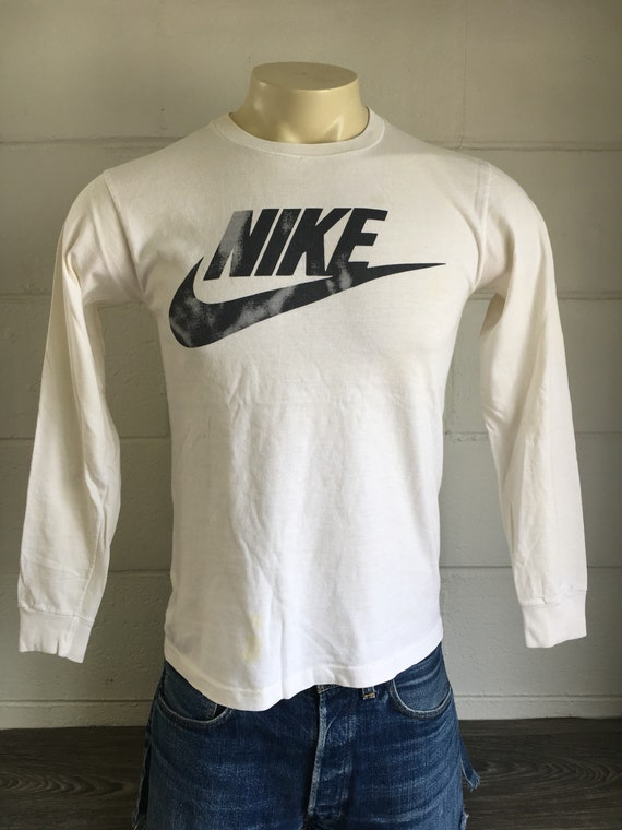 wholesale price classic style lower price with NIKE Shirt 80's Vintage Long Sleeve Tshirt Blue Tag Black & White Big  Swoosh Graphic Rare!/ USA Made Tee Small