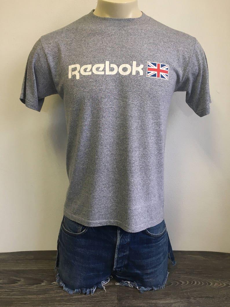 f1c7efbb30 Reebok Tshirt Heather 80s Vtg Soft and Thin 50/50 UK Shirt Tennis Running  Sportswear England British Usa Made Grey Tee Large