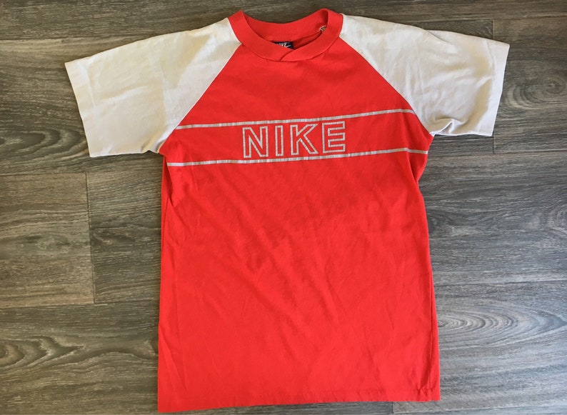 d31ac6abe6116 Nike Jersey Shirt 80s Vintage Blue Tag Raglan Red Grey Block Letter Soft  and Thin Tshirt 50/50 Rare Single Stitch Youth XL Tee