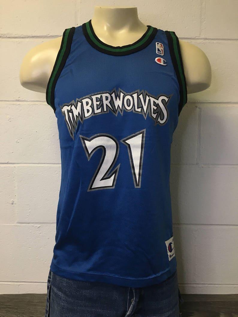 4a4cca65cec TimberWolves Garnett Champion Jersey Shirt Vintage 90s 21