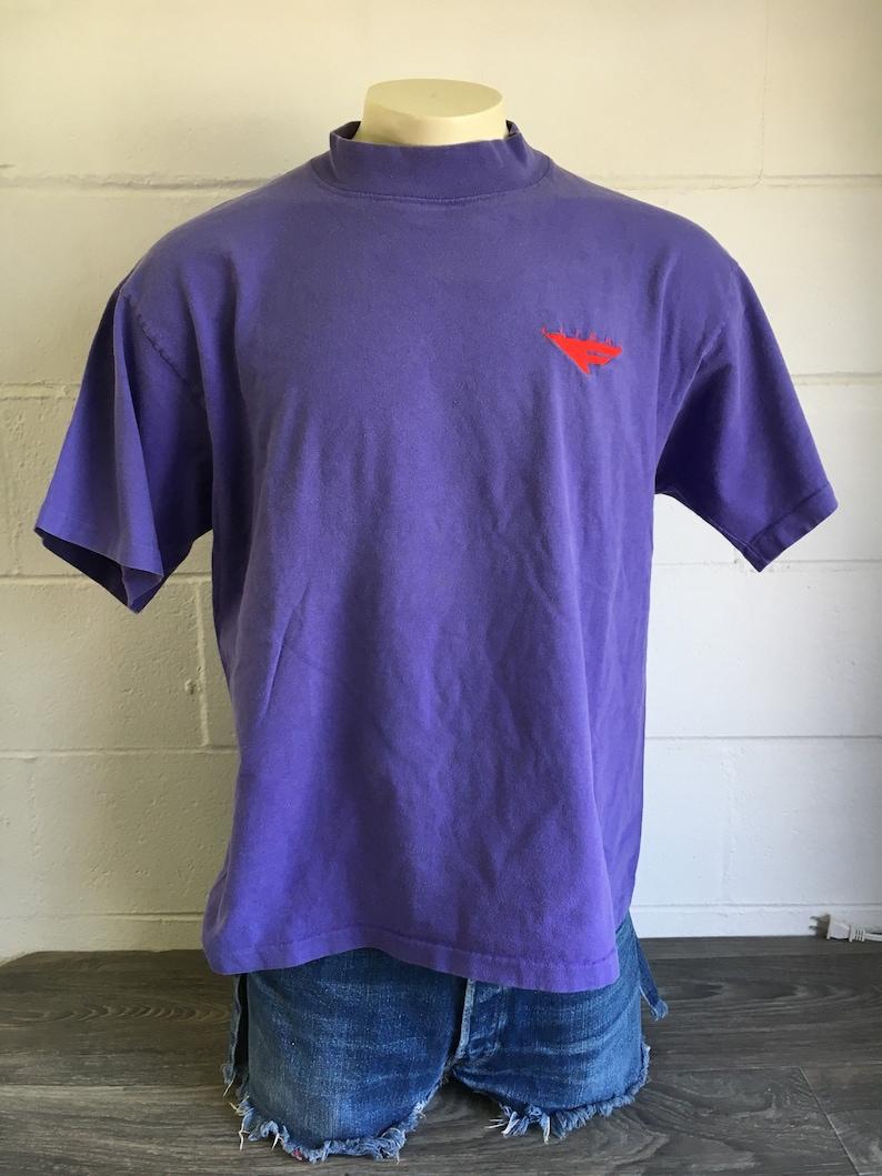 3ed26b10 Nike Flight Tshirt Vintage 90s Grey Tag Purple Swoosh Shirt   Etsy
