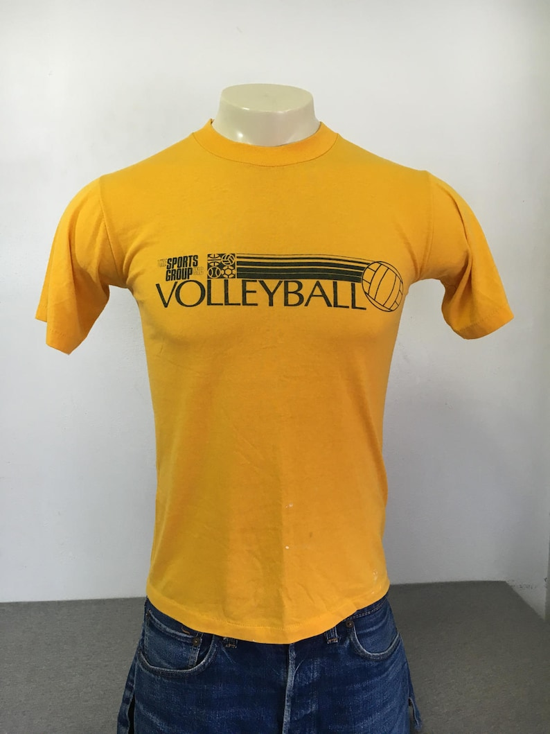 0945dd4361121 NIKE Shirt Vintage Blue Tag Label 80's/ Volleyball Big Swoosh Gold  Two-Sided Graphic Tshirt/ Ink Print USA Made Men's Med