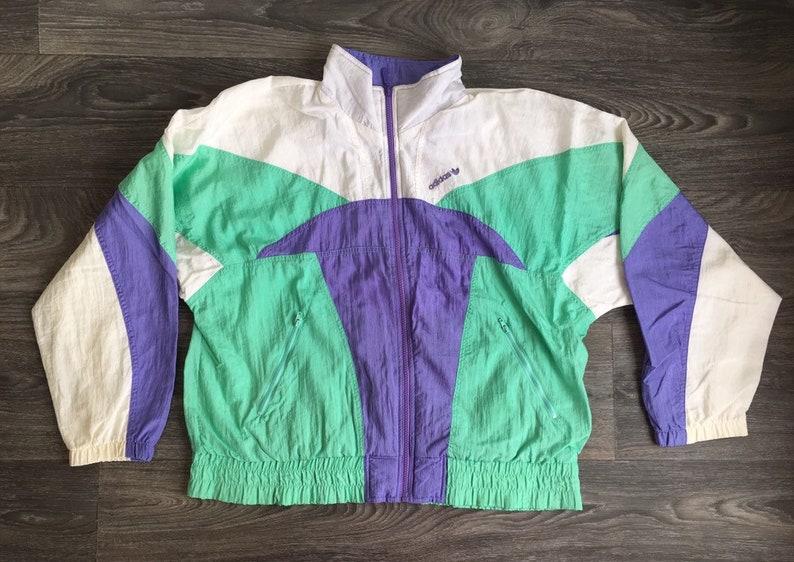 d7468dbf11baa Vintage ADIDAS Jacket 90s Trefoil White Purple Green Colorblock UNIQUE!  Runner Warm Up Full Zip Track Hip Hop Coat Men Medium Women Large