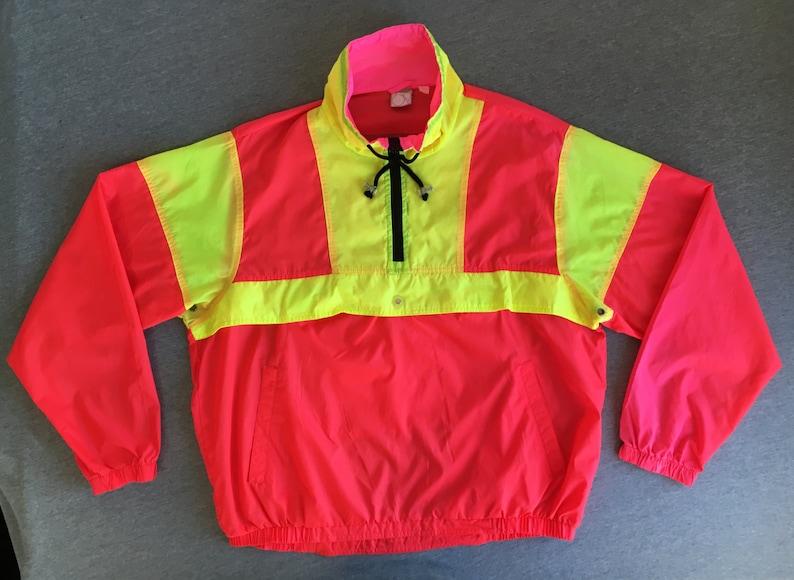 534ca9229221 OCEAN PACIFIC Jacket 80s Vintage  OP Windbreaker Neon Pink