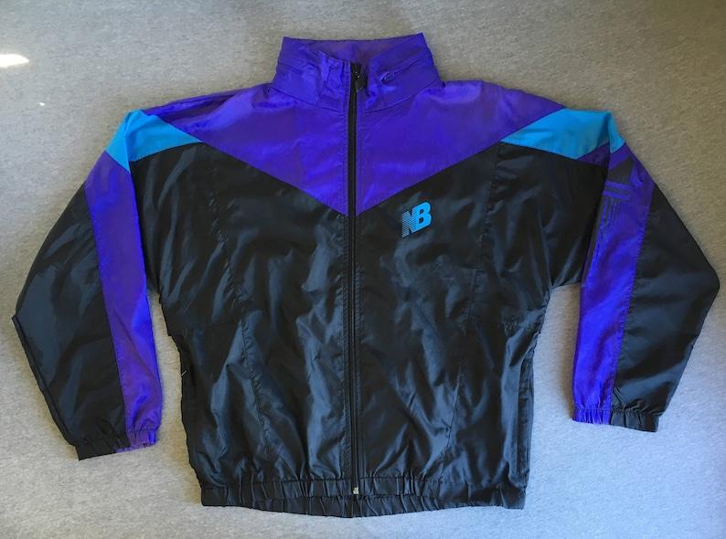 a8b5cba49a931 New Balance WINDBREAKER Jacket 80s 90's Vintage Hooded | Etsy