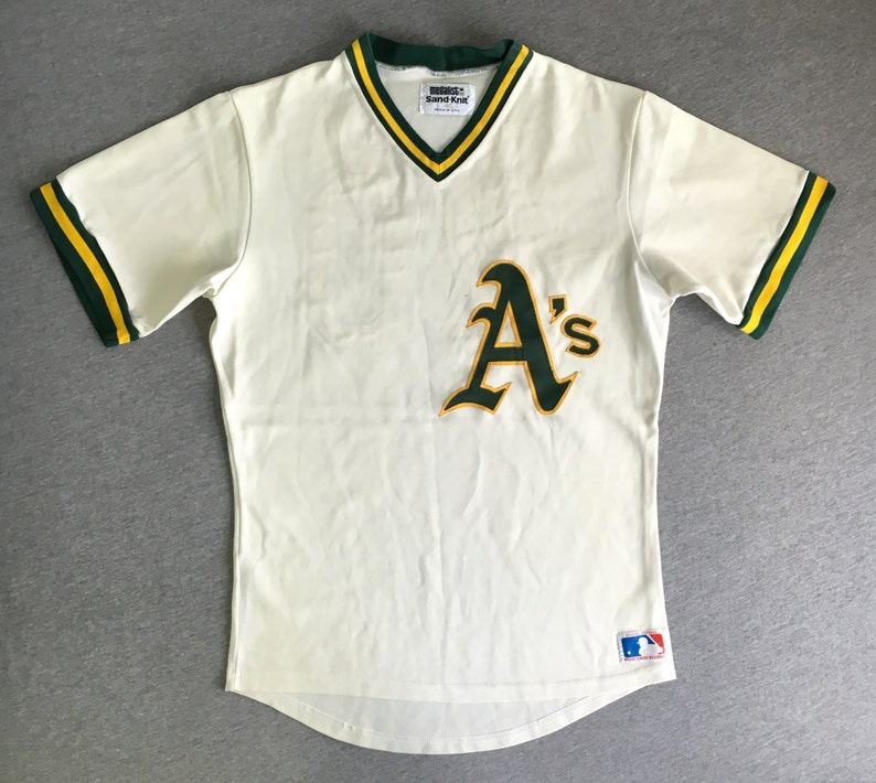 OAKLAND A s Jersey Late 70 s Early 80 s Vintage   Rare Sewn Sand Kni...  OAKLAND A s Jersey Late 70 s Early 80 s Vintage   Rare Sewn Sand Knit  Medalist  20  ... a2f70c08c