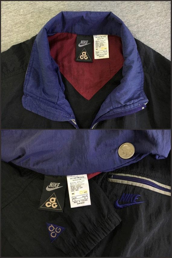 NIKE ACG coupe vent veste Vintage des années 90 Full Zip Windrunner Warm Up Nylon piste Run noir homme grand