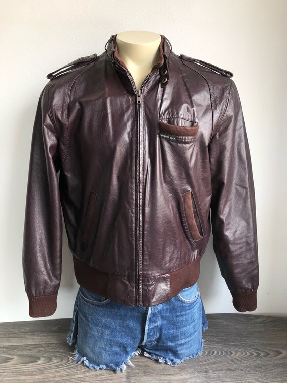 Members Only Vintage Unisex Mens Womens 1980s Brown Cafe Racer Leather Jacket Coat
