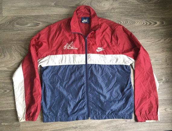 3fa149e24ef97 Vintage NIKE WINDBREAKER Jacket 1984 / Hood To Coast Relay Race 80's Blue  Tag Full Zip Wind Runner Warm Up Nylon/ Breakdance Hip Hop UsA Med