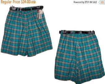 71028d00ca160 SALE Women's Size 11 Shorts High Waisted Plaid Madras Teal Blue NOS New  With Tags