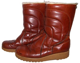 Leather Shearling Winter Men's Size 10 Boots, Puffer Boots, Snow Boots, Dexter Boots, Grunge Boots, Retro 70s Boots