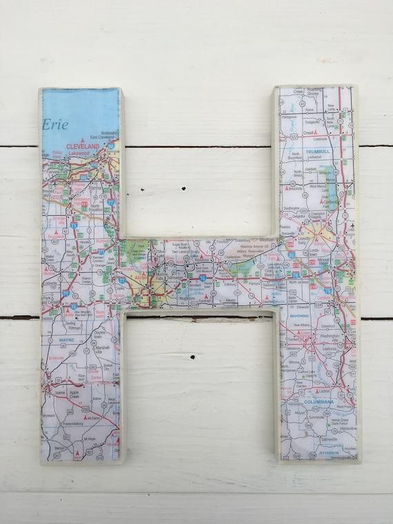 Fairlawn Ohio Map.Cleveland Ohio Map Letter Initial Wood Lakewood Lake Etsy