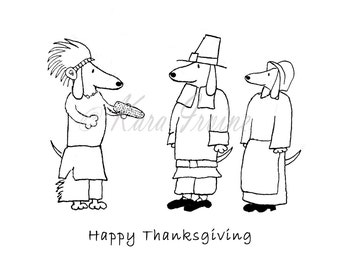 Dachshund Thanksgiving Cards, Happy Thanksgiving Card with Pilgrims and Indians, Benefits Animal Rescue- Set of 5 Cards with Envelopes