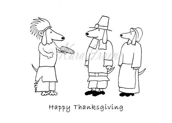 Dachshund Thanksgiving Cards Happy Thanksgiving Card With