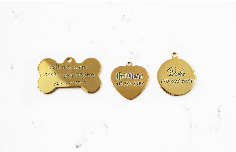 Finition Or Dog Tags Miroir Etiquettes Didentification De