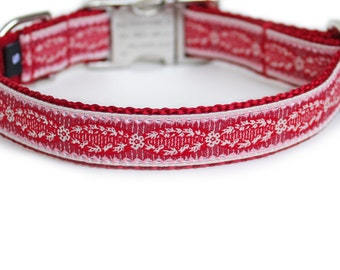 Dog Collar, Metal Buckle, Personalized, French Collection, Small Dog Collar, Cottage, Red Dog Collar, Girl, Boy Dog Collar - Adrien in Red