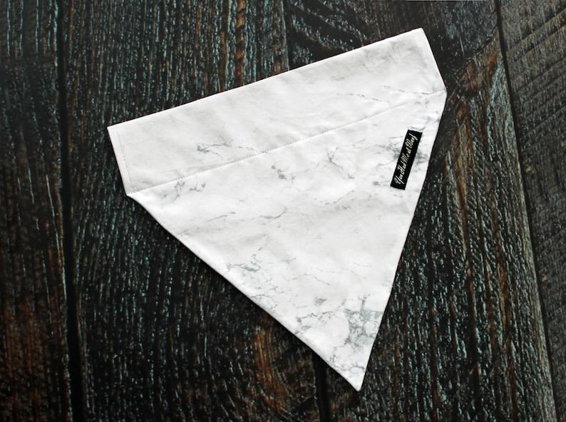 Carrara Marble Dog Bandana Over the Collar Dog Scarf