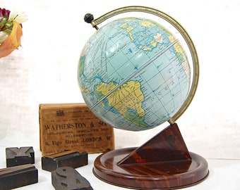 British MidCentury Vintage - Chad Valley Tin GLOBE - 1950's Desktop / Stationary / Map