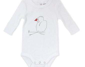 Bird baby bodysuit, hand drawn baby grow, newborn gift